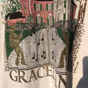 Vintage Shirts - 1998 Graceland Elvis Diamond Dust Vintage T-shirt